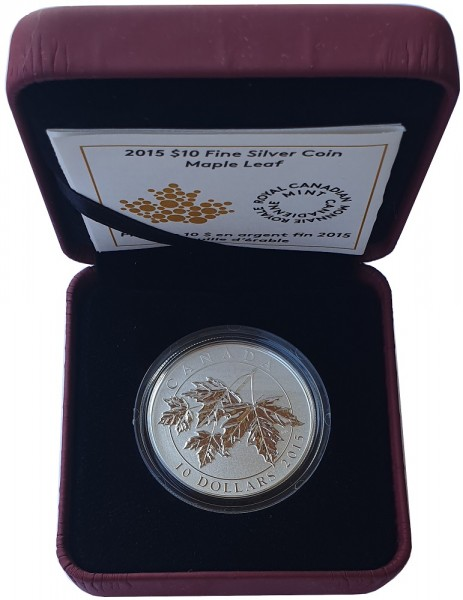 Canada 10 Dollars 1/2 Oz Silber Maple Leaf Ahornblätter 2015 im Etui - 999/1000 Feinsilber