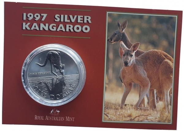 1 Oz Silber Känguru 1997 im Blister - Frosted Proof aus Australien