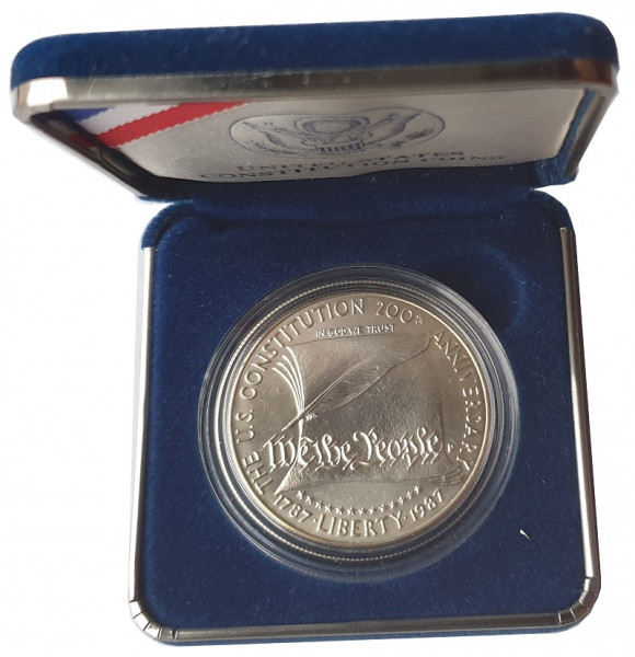 USA One Dollar Silber 1987 BU 200 Jahre Verfassung der Vereinigten Staaten
