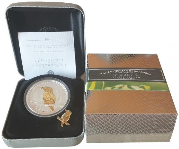 1 Oz Silber Kookaburra - vergoldet (Gilded) 2007 im Etui aus Australien