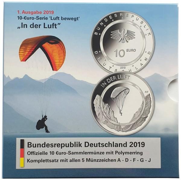 5 x 10 Euro in der Luft 2019 ADFGJ Komplettsatz Stempelglanz im Blister