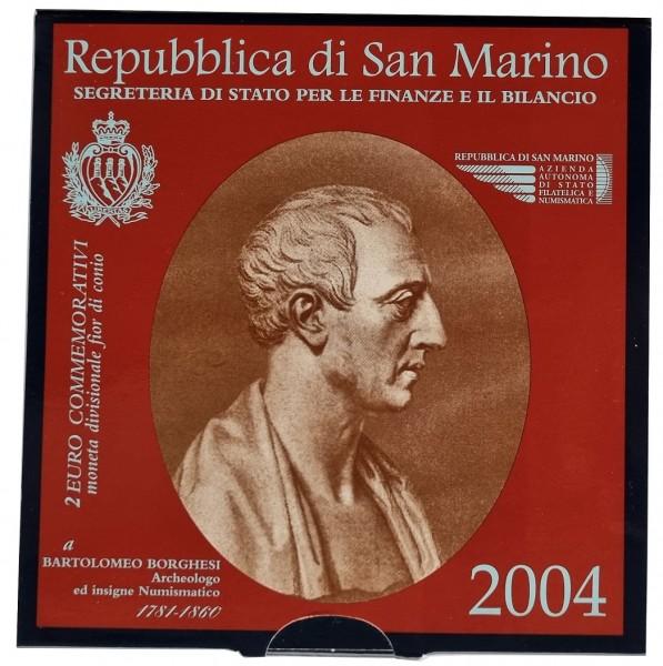 San Marino 2 Euro Gedenkmünze Bartolomeo Borghesi 2004 im Blister