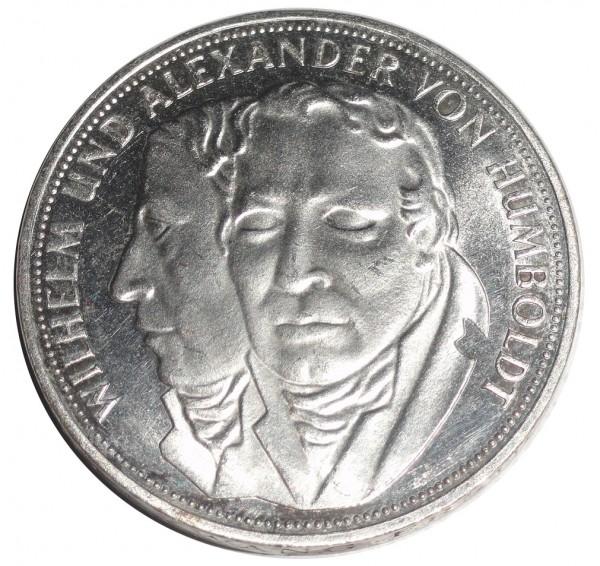BRD: 5 DM Silber Gedenkmünze Wilhelm und Alexander von Humboldt 1967 F