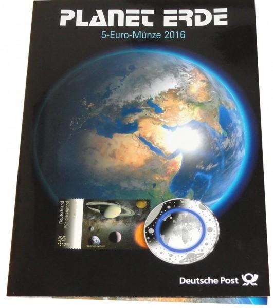 Brd 5 X 5 Euro Blauer Planet Erde 2016 Adfgj Stempelglanz Im Post