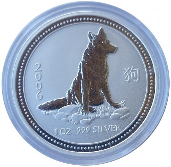 Australien 1 Oz Silber Lunar I Serie Hund 2006
