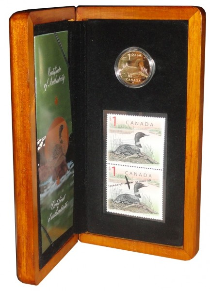 Canada Loon Dollar Münzen Briefmarken Set Wildgans 2004