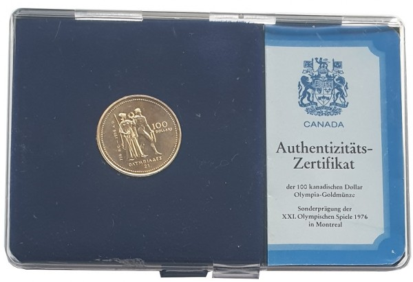 Kanada 100 Dollar Goldmünze Montreal 1976 Olympiade Polierte Platte