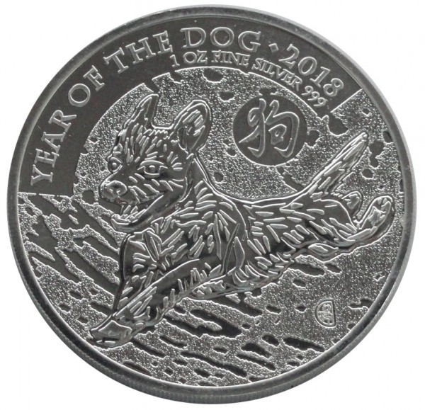 Großbritannien 2 Pounds 1 Oz Silber Hund (Year of The Dog) 2018