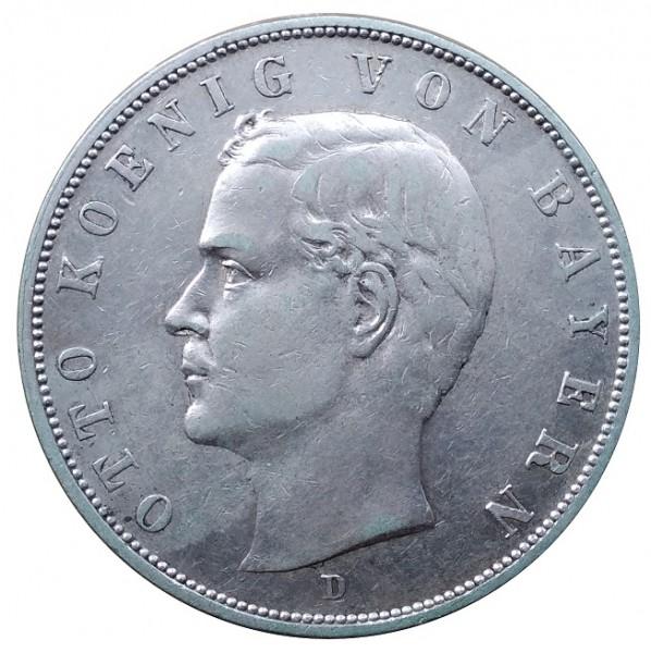 Deutsches Kaiserreich 3 Mark Silber Otto König von Bayern 1908 D