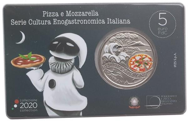 Italien 5 Euro Pizza 2020 in Coincard - Italiens Küchen- und Weinkultur