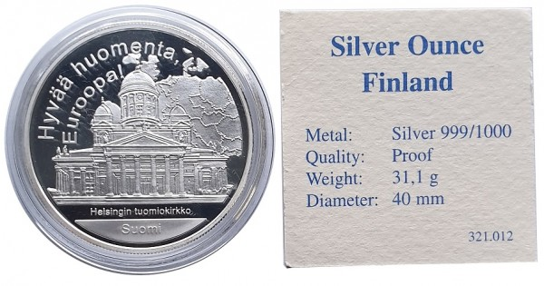 1 Oz 999/1000 Silber Finnland - Hallo Europa - Proof in Münzkapsel mit Echtheits - Zertifikat