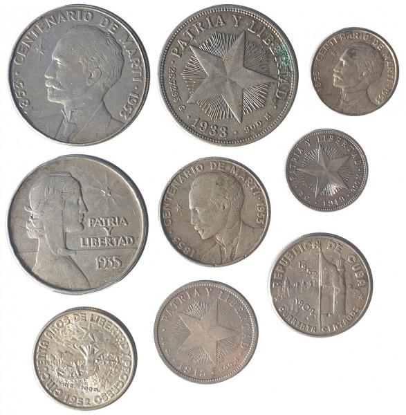 Cuba Silber Lot - 9 alte Silbermünzen