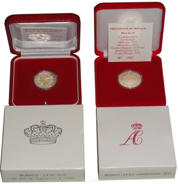 Sparpaket ! Monaco 2 Euro Gedenkmünze 20 Jahre UNO Mitgliedschaft 2013 BU + PP