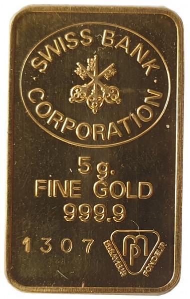 5 gr Goldbarren Swiss Bank Corporation Schweiz 999,9/1000 Feingold