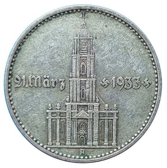 Deutsches Reich 2 Reichsmark Silber Garnisonkirche mit Datum