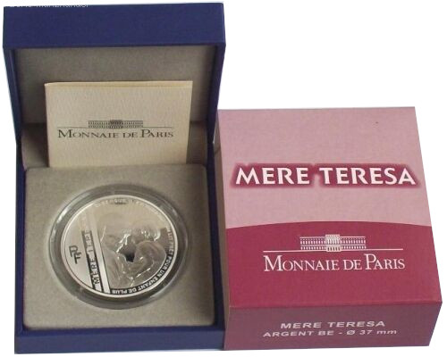 Frankreich 10 Euro Silbermünze Mutter Teresa 2010 Polierte Platte im Etui