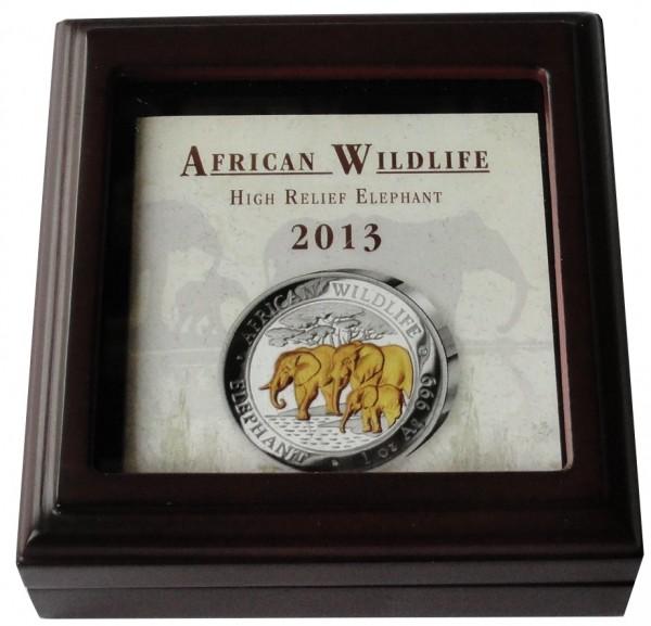 Somalia 1 Oz Silber African Wildlife Elefant 2013 High Relief