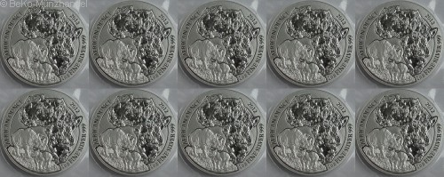 Ruanda 10 x 1 Oz Silber Nashorn 2012 BU - 10er Sheet in Folie verschweist